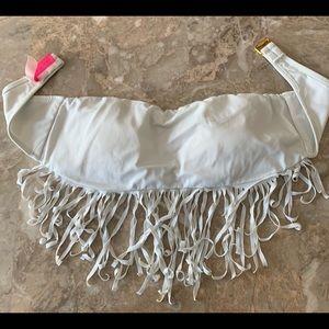 Victoria's Secret white with fringes swim top, S/P